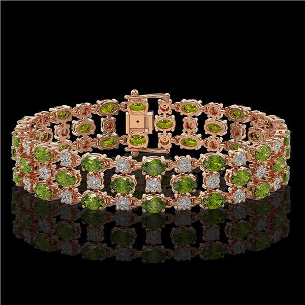 15.64 ctw Tourmaline & Diamond Row Bracelet 10K Rose Gold - REF-245X5A