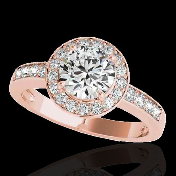 1.4 ctw Certified Diamond Solitaire Halo Ring 10k Rose Gold - REF-200M5G