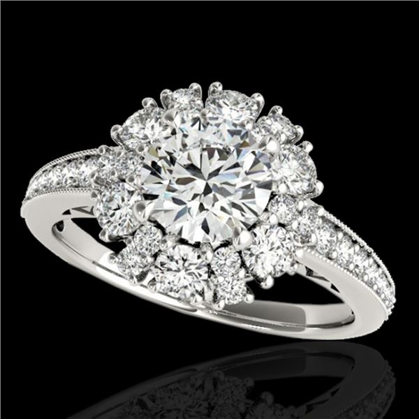 2.16 ctw Certified Diamond Solitaire Halo Ring 10k White Gold - REF-200X5A