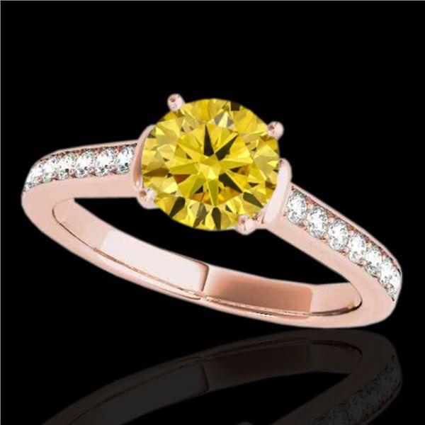 1.5 ctw Certified SI/I Fancy Intense Yellow Diamond Ring 10k Rose Gold - REF-204A5N