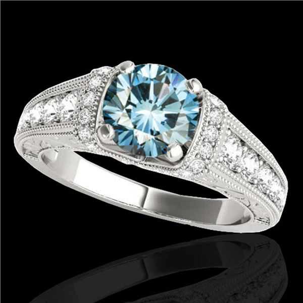 1.75 ctw SI Certified Blue Diamond Solitaire Antique Ring 10k White Gold - REF-184G3W