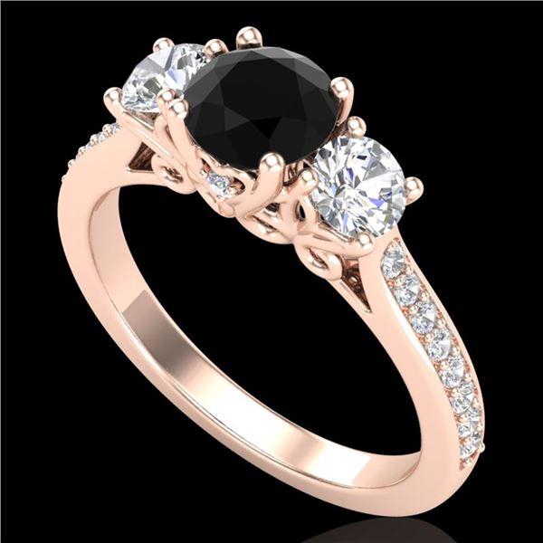 1.67 ctw Fancy Black Diamond Art Deco 3 Stone Ring 18k Rose Gold - REF-156A4N