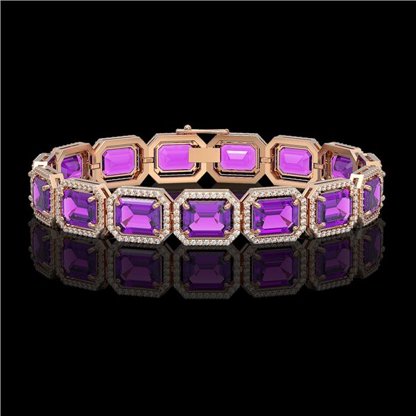 34.86 ctw Amethyst & Diamond Micro Pave Halo Bracelet 10k Rose Gold - REF-345A5N