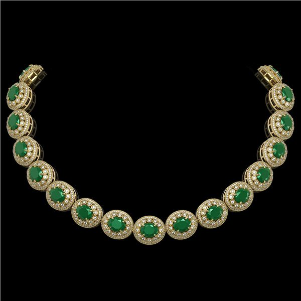 111.75 ctw Emerald & Diamond Victorian Necklace 14K Yellow Gold - REF-3094Y9X