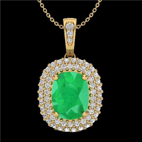 3.15 ctw Emerald & Micro Pave VS/SI Diamond Necklace 18k Yellow Gold - REF-90W9H