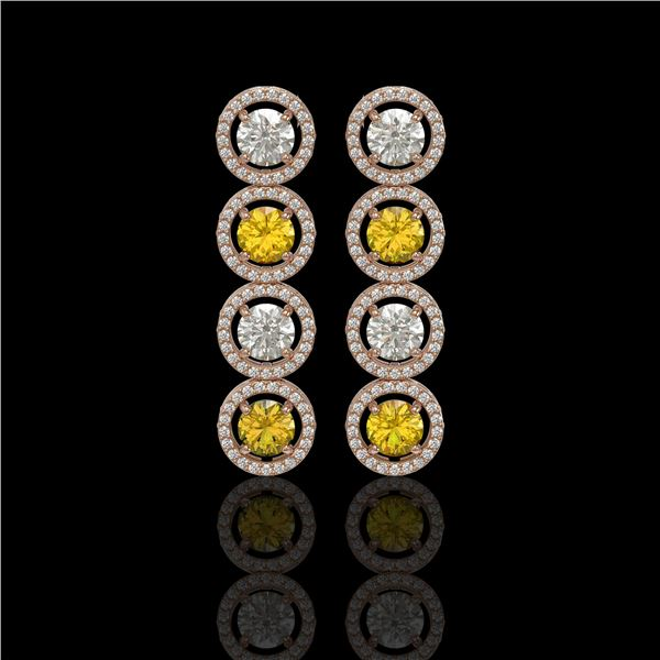 5.50 ctw Canary & Diamond Micro Pave Earrings 18K Rose Gold - REF-592A3N