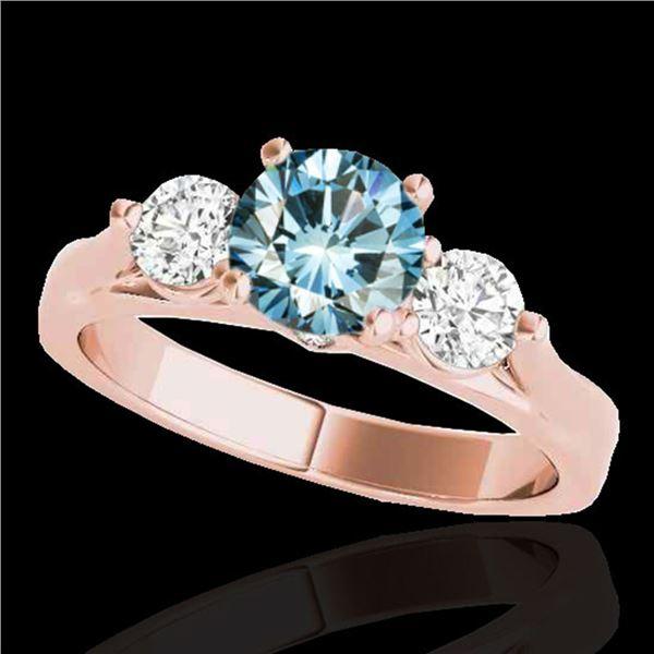 1.75 ctw SI Certified Fancy Blue Diamond 3 Stone Ring 10k Rose Gold - REF-197X8A