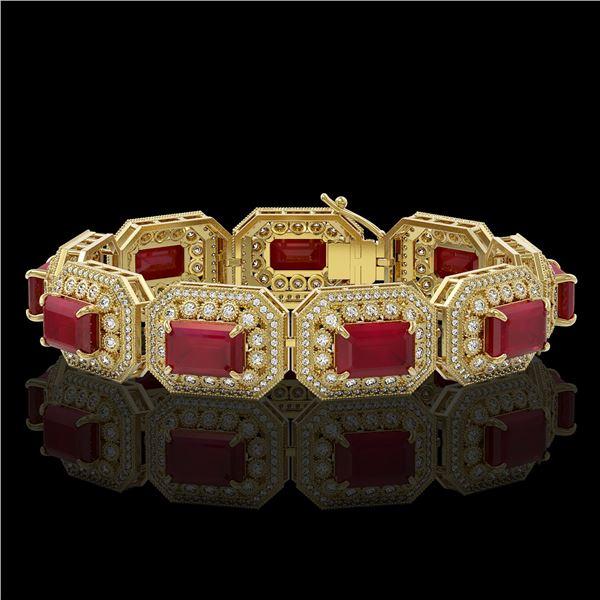61.92 ctw Certified Ruby & Diamond Victorian Bracelet 14K Yellow Gold - REF-1288G4W