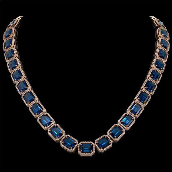 79.66 ctw London Topaz & Diamond Micro Pave Halo Necklace 10k Rose Gold - REF-740M2G