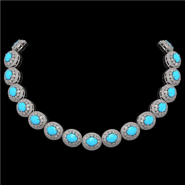 86.75 ctw Turquoise & Diamond Victorian Necklace 14K White Gold - REF-2583F6M