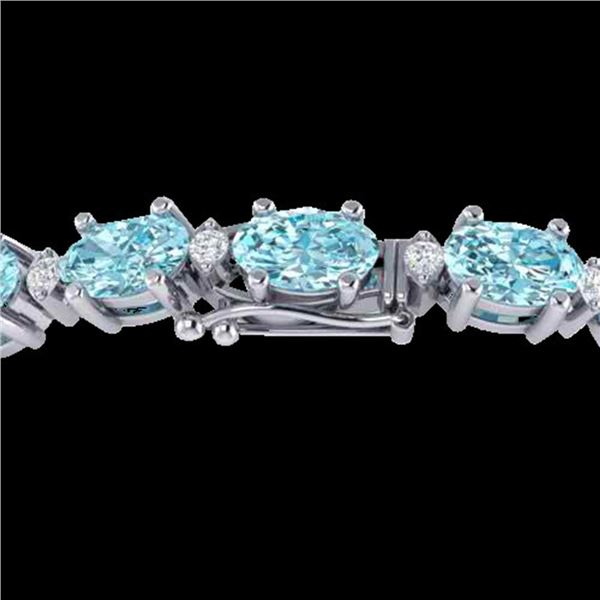 14 ctw Sky Blue Topaz & VS/SI Diamond Eternity Bracelet 10k White Gold - REF-80G2W