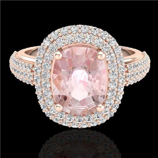 3.25 ctw Morganite & Micro Pave VS/SI Diamond Ring 14k Rose Gold - REF-141R8K