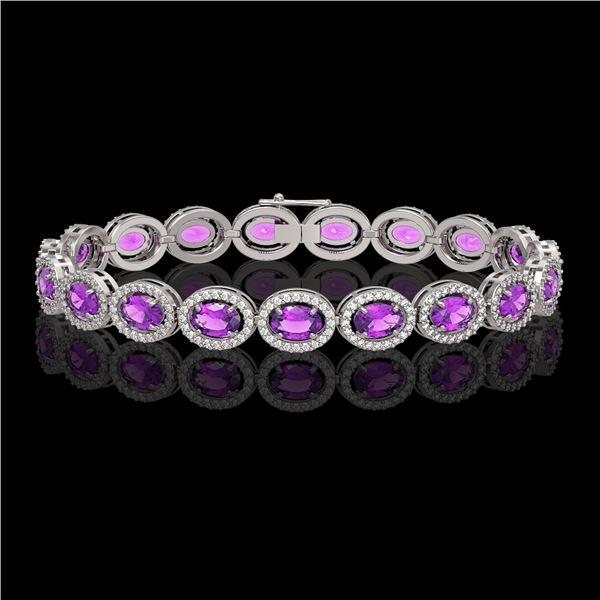 13.11 ctw Amethyst & Diamond Micro Pave Halo Bracelet 10k White Gold - REF-263N6F