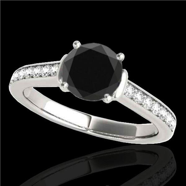 1.5 ctw Certified VS Black Diamond Solitaire Ring 10k White Gold - REF-58F6M