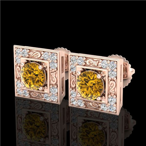 1.63 ctw Intense Fancy Yellow Diamond Art Deco Earrings 18k Rose Gold - REF-218M2G