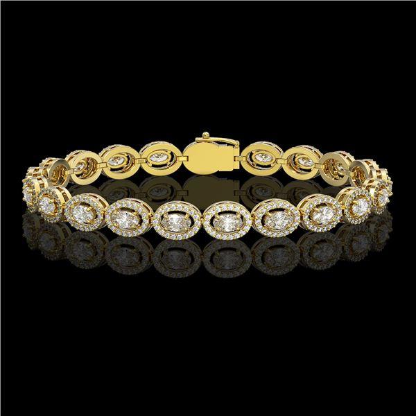8.06 ctw Oval Cut Diamond Micro Pave Bracelet 18K Yellow Gold - REF-699G3W