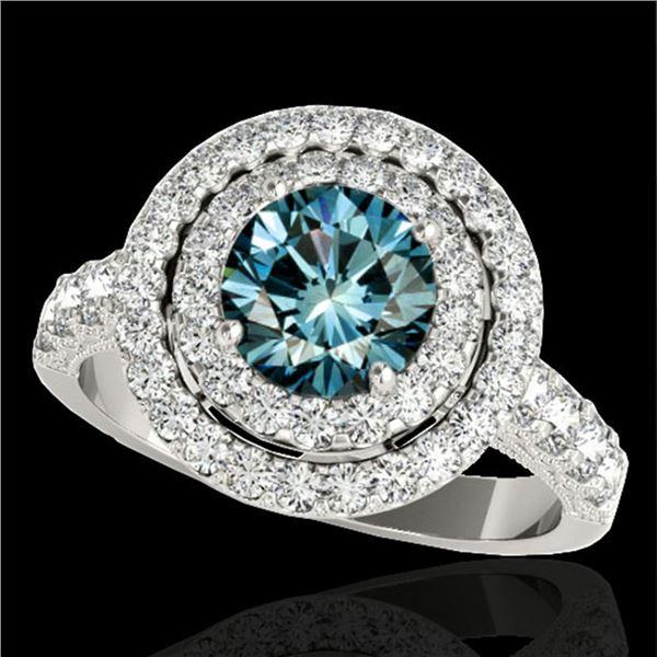 2.25 ctw SI Certified Fancy Blue Diamond Halo Ring 10k White Gold - REF-163K6Y