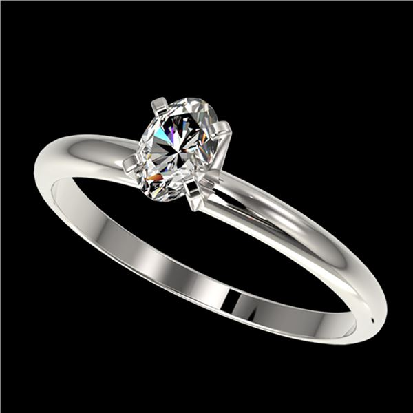 0.50 ctw Certified VS/SI Quality Oval Diamond Engagment Ring 10k White Gold - REF-60F3M