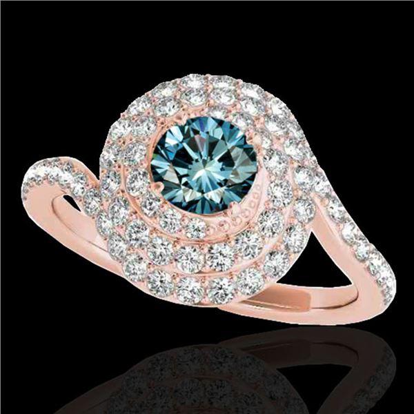 1.86 ctw SI Certified Fancy Blue Diamond Halo Ring 10k Rose Gold - REF-135W2H