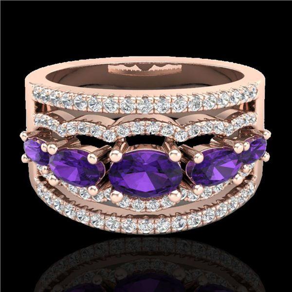 2.25 ctw Amethyst & Micro Pave VS/SI Diamond Designer Ring 10k Rose Gold - REF-81R8K