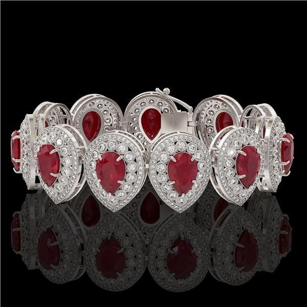 56.04 ctw Certified Ruby & Diamond Victorian Bracelet 14K White Gold - REF-1520A8N