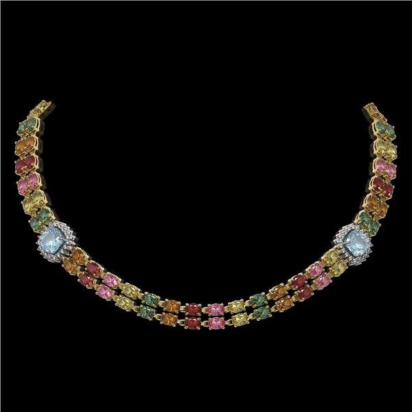43.35 ctw Sapphire & Diamond Necklace 14K Yellow Gold - REF-527N3F