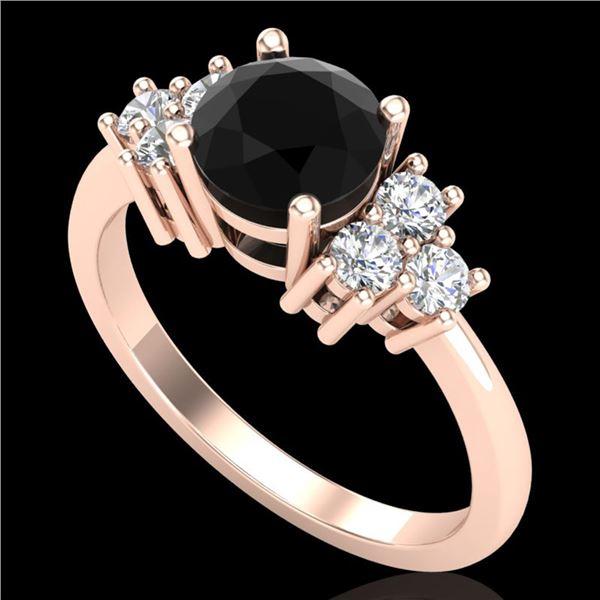1.25 ctw Fancy Black Diamond Engagment Art Deco Ring 18k Rose Gold - REF-109A3N