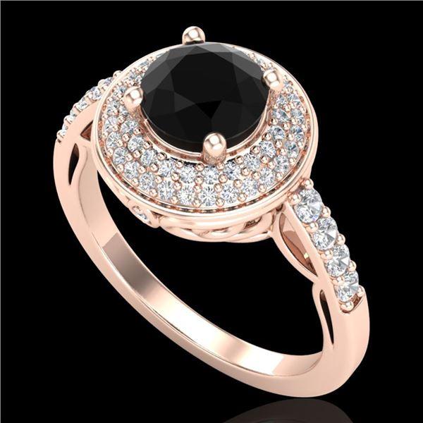1.7 ctw Fancy Black Diamond Engagment Art Deco Ring 18k Rose Gold - REF-143N6F