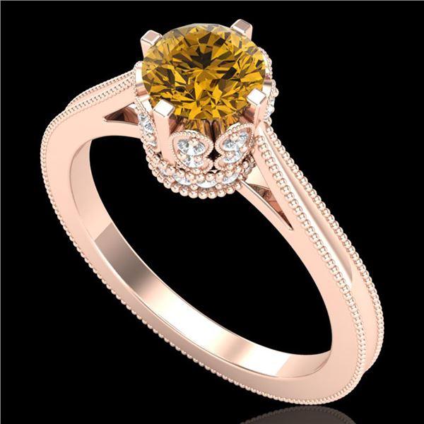 1.14 ctw Intense Fancy Yellow Diamond Art Deco Ring 18k Rose Gold - REF-218F2M
