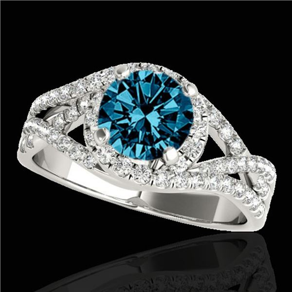 2 ctw SI Certified Fancy Blue Diamond Solitaire Halo Ring 10k White Gold - REF-218K2Y