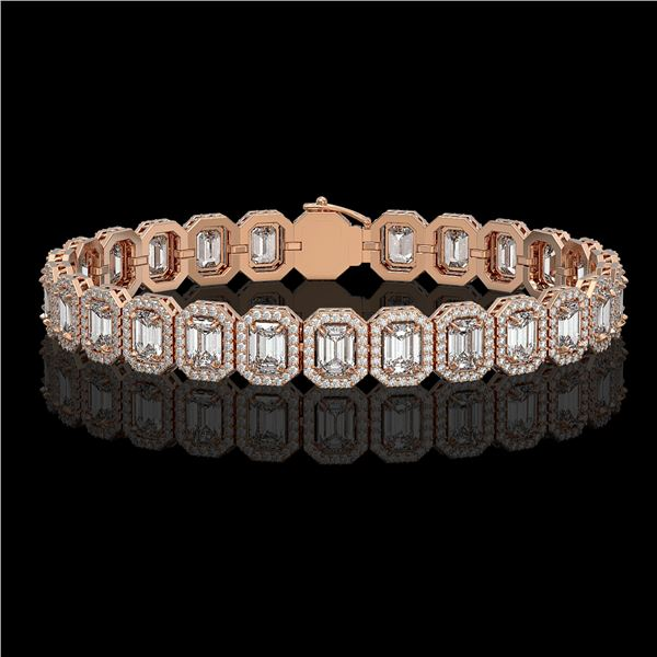 17.28 ctw Emerald Cut Diamond Micro Pave Bracelet 18K Rose Gold - REF-2686A8N