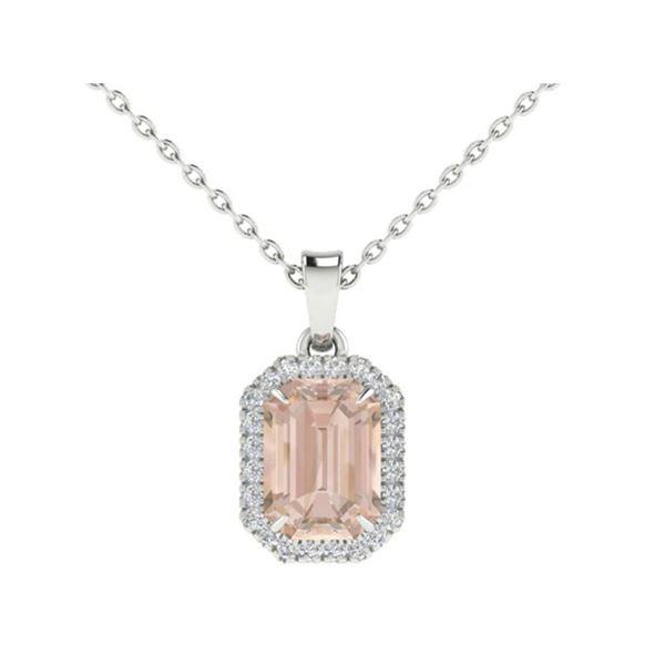 2.70 ctw Morganite & Micro Pave Diamond Necklace 18k White Gold - REF-83N3F