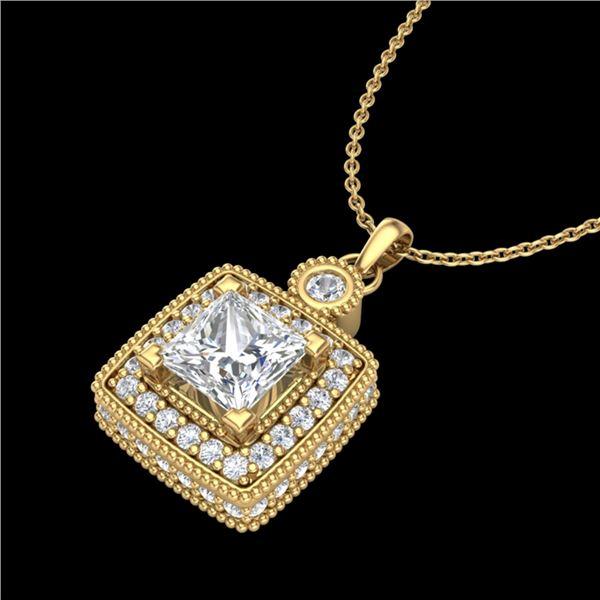 0.91 ctw Princess VS/SI Diamond Art Deco Stud Necklace 18k Yellow Gold - REF-145G5W