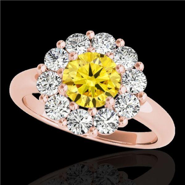 2.85 ctw Certified SI/I Fancy Intense Yellow Diamond Ring 10k Rose Gold - REF-354G5W