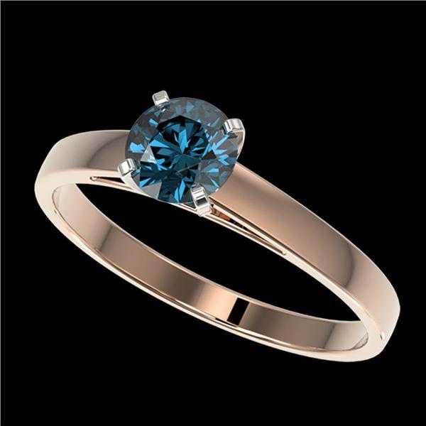 0.75 ctw Certified Intense Blue Diamond Engagment Ring 10k Rose Gold - REF-57H8R