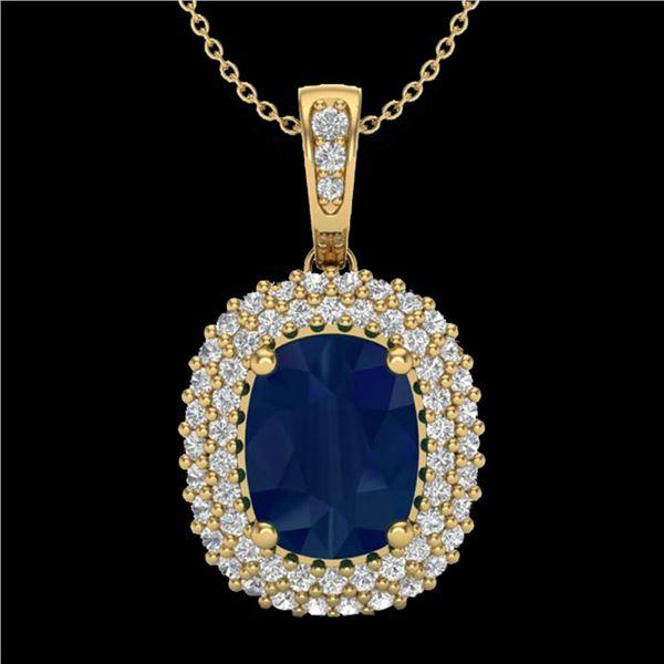 3.15 ctw Sapphire & Micro Pave VS/SI Diamond Necklace 18k Yellow Gold - REF-90W2H