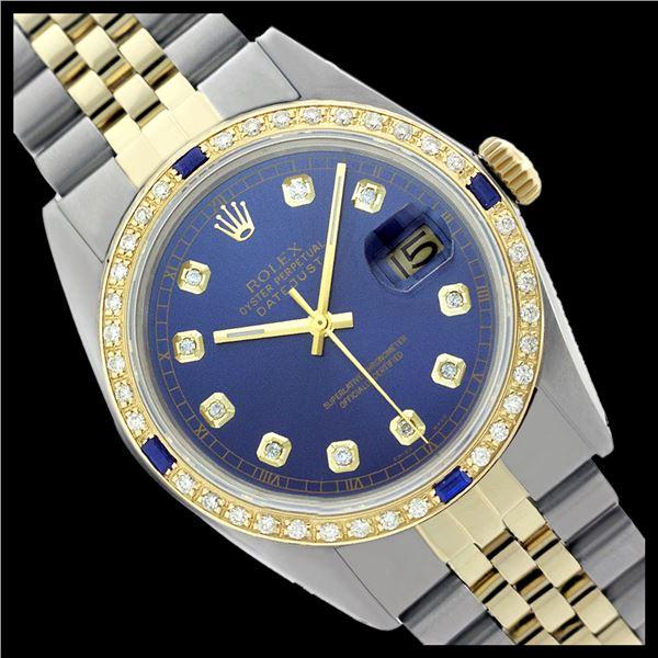 Rolex Men's Two Tone, QuickSet, Diam Dial & Diam/Sapphire Bezel