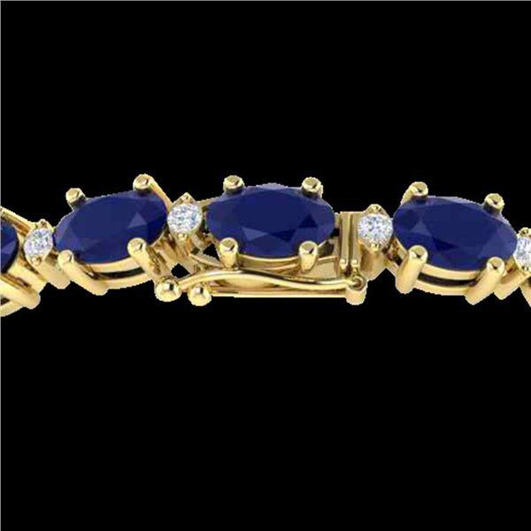 30.8 ctw Sapphire & VS/SI Diamond Eternity Bracelet 10k Yellow Gold - REF-245Y5X