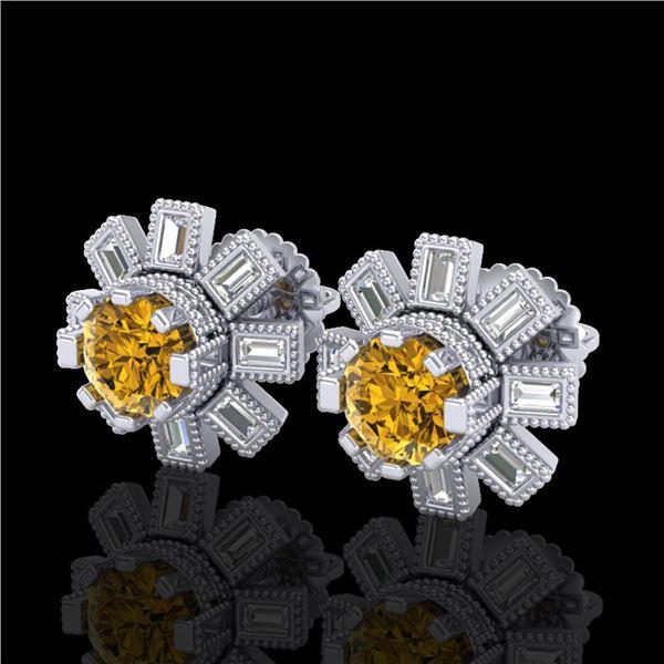 1.77 ctw Intense Fancy Yellow Diamond Art Deco Earrings 18k White Gold - REF-236G4W