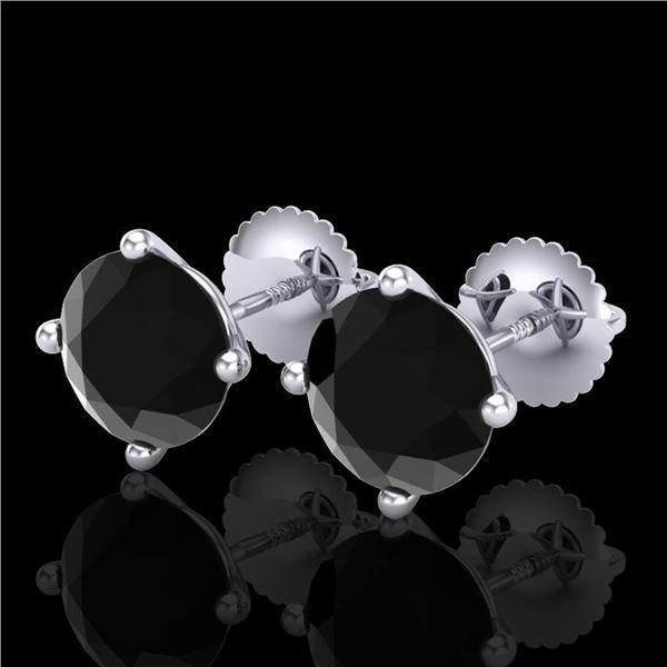 3.01 ctw Fancy Black Diamond Art Deco Stud Earrings 18k White Gold - REF-66R8K