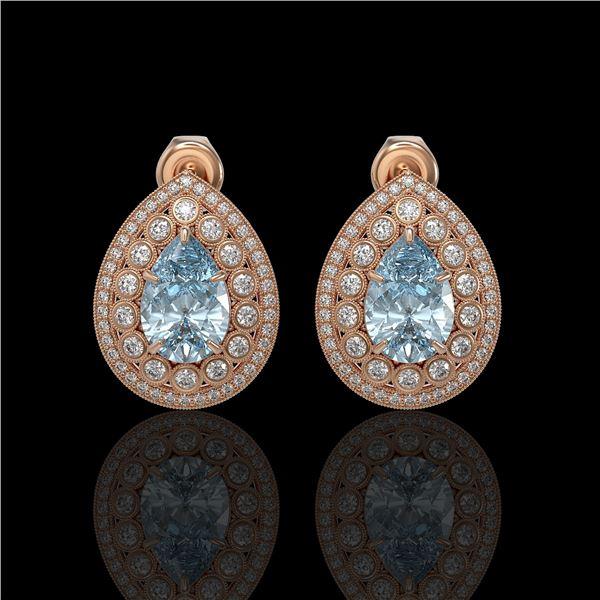 7.15 ctw Aquamarine & Diamond Victorian Earrings 14K Rose Gold - REF-285R8K