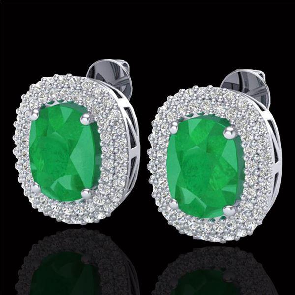 6.30 ctw Emerald & Micro Pave VS/SI Diamond Earrings 18k White Gold - REF-160X9A