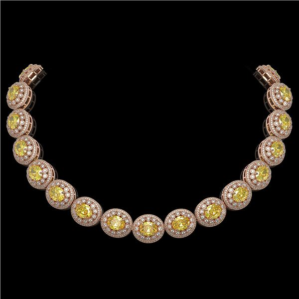 89.35 ctw Canary Citrine & Diamond Victorian Necklace 14K Rose Gold - REF-2454G5W
