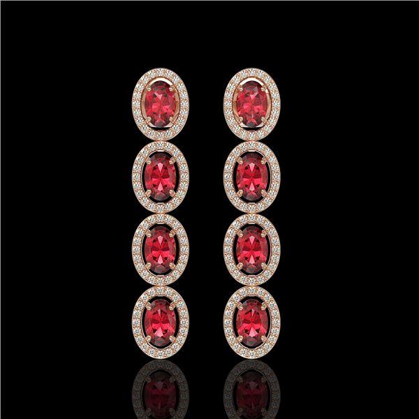 5.88 ctw Tourmaline & Diamond Micro Pave Halo Earrings 10k Rose Gold - REF-143M6G