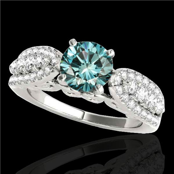 1.7 ctw SI Certified Fancy Blue Diamond Solitaire Ring 10k White Gold - REF-135K2Y