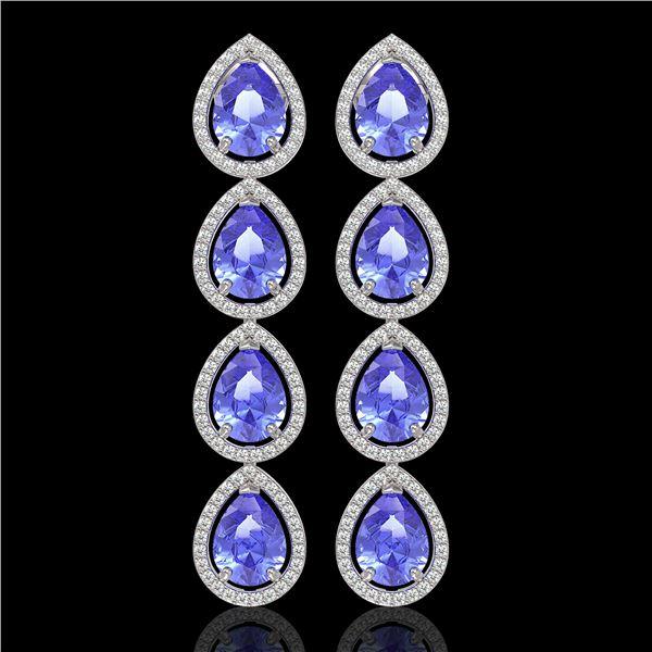 11.2 ctw Tanzanite & Diamond Micro Pave Halo Earrings 10k White Gold - REF-286K9Y
