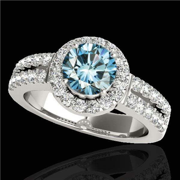 1.5 ctw SI Certified Fancy Blue Diamond Solitaire Halo Ring 10k White Gold - REF-163W6H