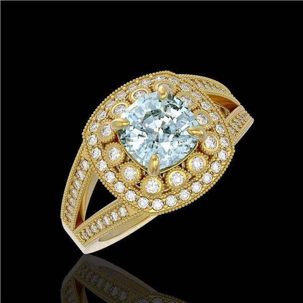 2.39 ctw Certified Aquamarine & Diamond Victorian Ring 14K Yellow Gold - REF-106M5G