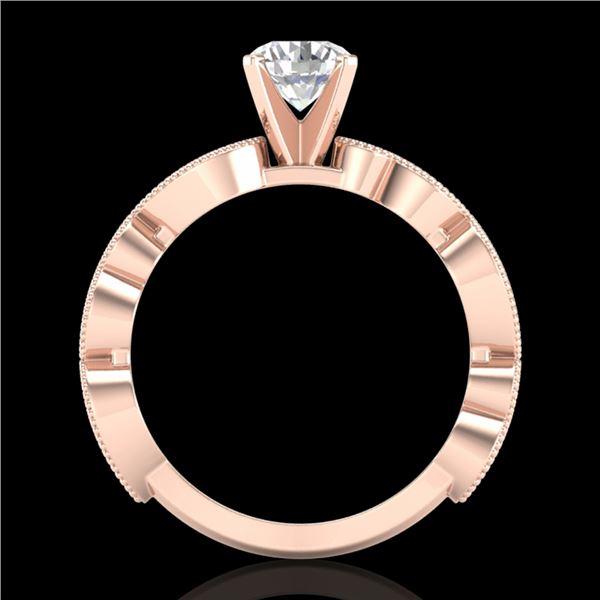 1.01 ctw VS/SI Diamond Solitaire Art Deco Ring 18k Rose Gold - REF-218M2G