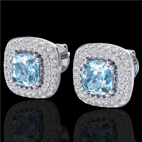 2.16 ctw Sky Blue Topaz & Micro VS/SI Diamond Earrings 18k White Gold - REF-98X4A